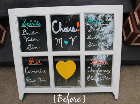 viet and i got married last june and for our reception we made a special bar sign from a window pane we picked up at a local scrap yard