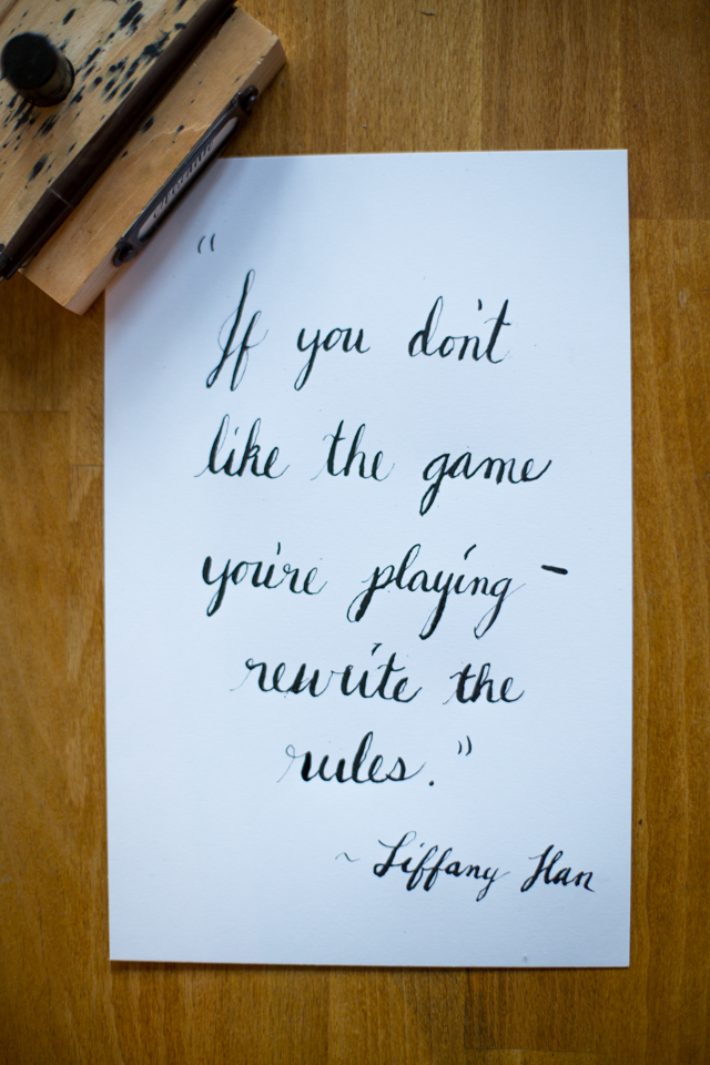 If you don't like the game you're playing, rewrite the rules. tiffany han